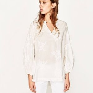 Zara Timeless Embroidered Peasant Puff Arm Tunic